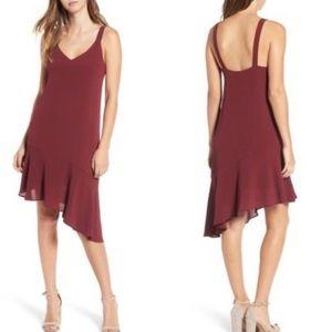 Lush Maroon Asymmetrical Strap Dress Sz Large